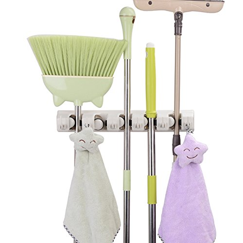 Mop and Broom Holder, 5 Position with 6 Hooks Holds Up to 11 Tools, Multipurpose Wall Mounted Garage Garden Kitchen Tool Organizer Hanger for Rake by JISIMI