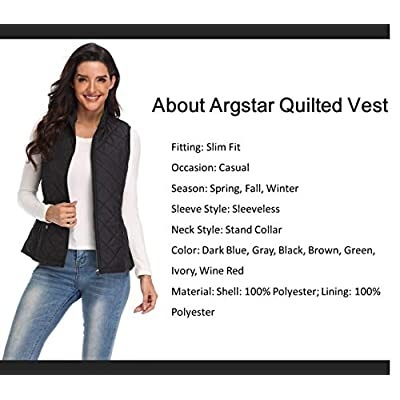 Argstar Lightweight Stand Collar Zip Pockets Gilet Quilted Puffy Vest for Women at Women's Coats Shop