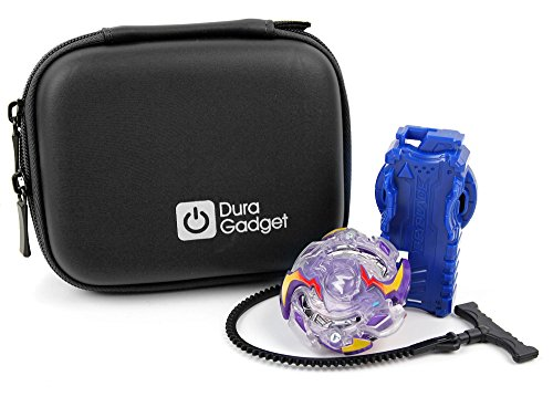 DURAGADGET Black Hard EVA Shell Case with Carabiner Clip & Twin Zips - Suitable for Beyblade Burst Top