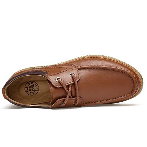 Abby QZYYU-172005 Mens Classic Walking Concise Moccasins Flat Cozy Bussiness Driving Breathable Upper Leather Working Office Lace Up Leisure Travel Square Toe Brown VMSXCPtA