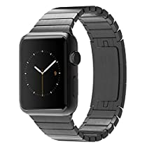 Apple Watch Link Band, Eoso Stainless Steel Replacement Smart Apple Watch Band Link Bracelet with Double Button Folding Clasp for 38mm Apple Watch All Model (Bracelet Black,38mm)