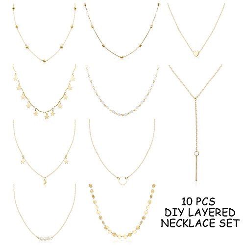 FUNRUN JEWELRY 10PCS Layered Choker Necklace for Women Girls Sexy Coin Star Multilayer Chain Necklace Set Adjustable Gold-Tone by FUNRUN JEWELRY