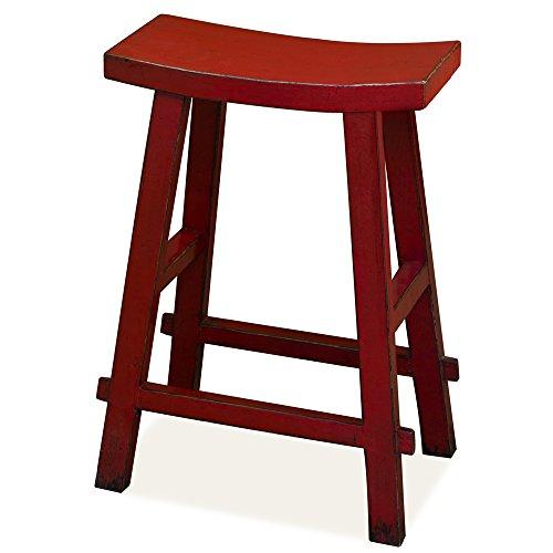 ChinaFurnitureOnline Elmwood Zen Style Bar Stool, Distressed Red Finish