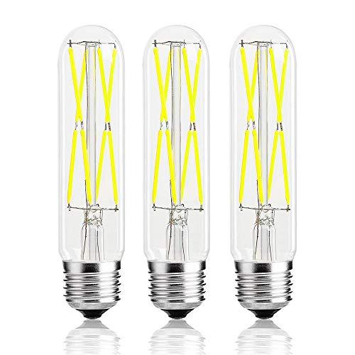 Leools 8W Dimmable Edison Led Tubular Bulb T10/T125,E26 Medium Base Lamp 75 Watt Incandescent Bulb Equivalent 6000K Cool White, 3-Pack