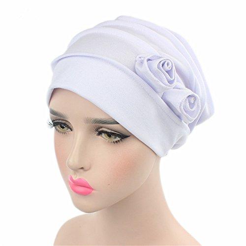 [Chemo Cancer Head Scarf Hat Cap Ethnic Cloth Print Turban Headwear Women Stretch Flower Muslim headscarf] (Ethnic Hats)