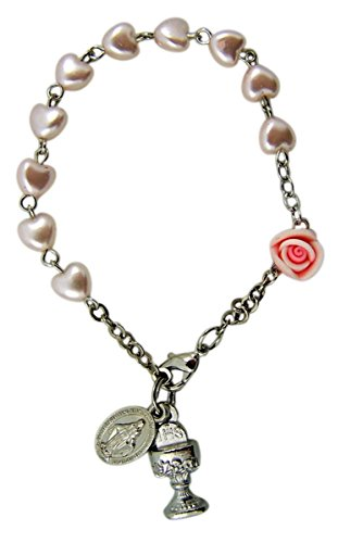on Pink Heart Beaded Rosary Bracelet with Rose Bead Chalice and Miraculous Medal Charms, 3 Inch ()