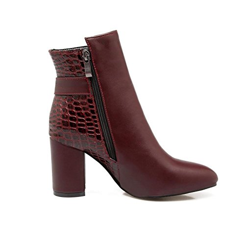 NVXIE Womens Short Boots Rough High Heel Round head Artificial PU Blue Black Fall Winter Party Work WINERED-EUR38UK55 s7l69CtZ5