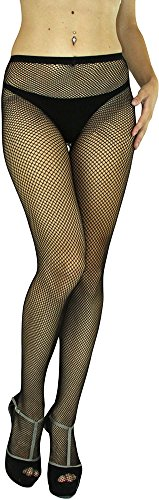 ToBeInStyle Women's Fishnet Full Footed Panty Hose Tights Hosiery - Queen Size - Black