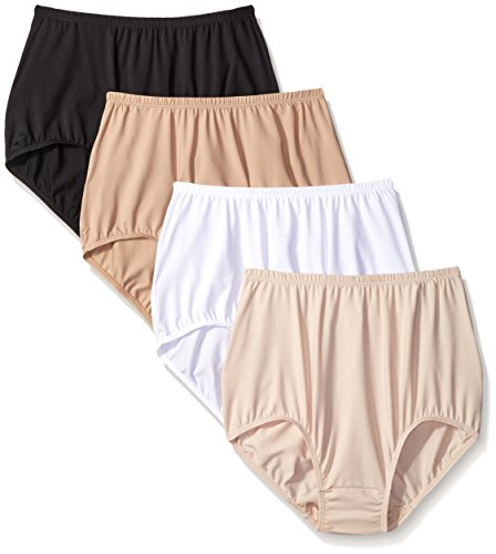 Warner's Women's 4 Pack Without A Stitch Brief, Rich Black/White/Warm Taupe/Butterscotch, 7 -