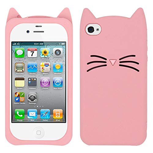 Yonocosta iPhone 4 Case, iPhone 4S Case, Fashion 3D Cute Cartoon Whisker Cat Kitty Case, Soft Rubber Silicone Bumper Shockproof Back Cover for iPhone 4 / iPhone 4S (Whisker Cat Pink)
