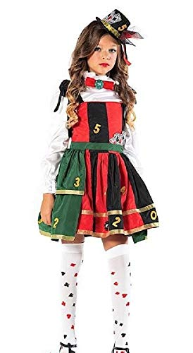 Italian Made Girls Deluxe Casino Lady Luck Las Vegas Carnival Halloween Fancy Dress Costume Outfit (7 years) -