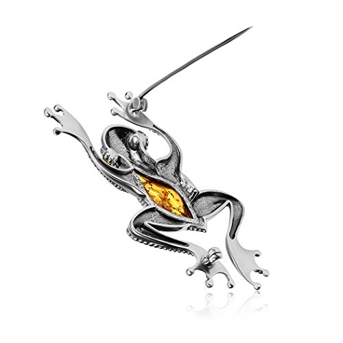 Amber Sterling Silver Frog Brooch by Ian and Valeri Co. (Image #1)