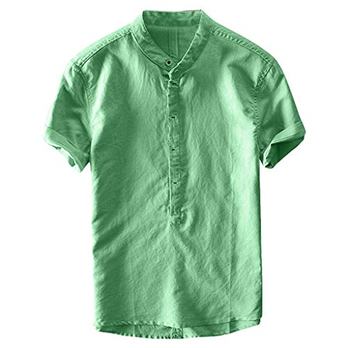 (Men Cotton Line Shirts, Casual Retro Short Sleeve Loose Work Tops Sports Fitness Running T-Shirts Summer Beach Blouse Green)