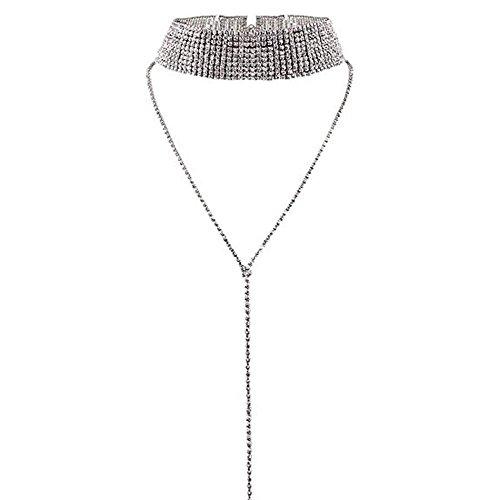 Udobuy Elegant Shiny Rhinestone Choker Chunky Statement Necklaces Long Tassel Chain Chocker Jewelry