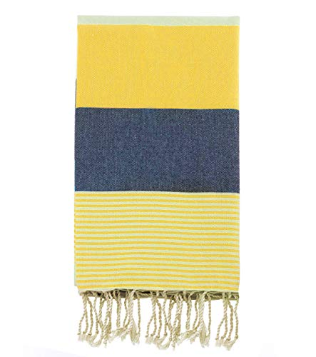 Swan Comfort 100% Natural Turkish Cotton Absorbent Beach Towel, Easy Care Ideal for Bath Spa Fitness Yoga Pool Yatch Swimwear Guest Gym - Navy Blue - Yellow (Towels Yellow And Blue)