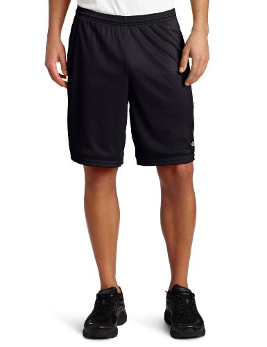 (Champion Men's Long Mesh Short With Pockets,Black,LARGE)