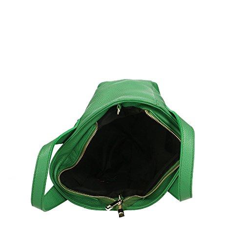 in Made Pelle Borsa Donna Vera Italy a Aren Verde Cm da in Handbag Mano 25x20x10 qzAvC