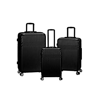 Rockland Pista Hardside Spinner Wheel Luggage Set, Black, 3-Piece (20/24/28)