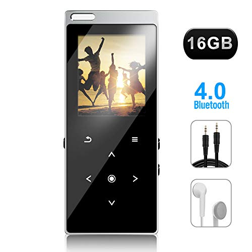 MAOZUA MP3 Player with Bluetooth 4.0, Upgraded 16GB Touch Screen Portable HiFi Lossless Digital Music Player with FM Radio, Voice Recorder (Expandable up to 32GB TF Card)