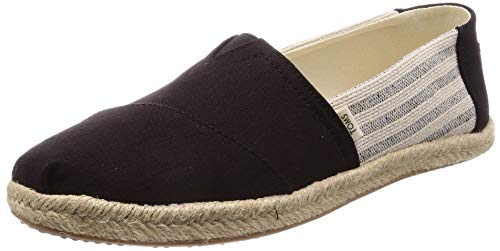 TOMS Women's Black Ivy League Stripes Women's Espadrilles 10013470 (Size: 7.5)