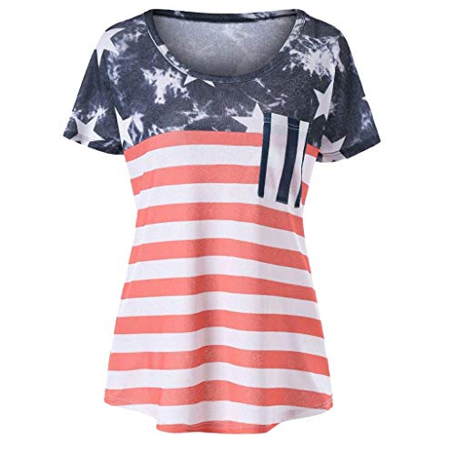 scamper Women Blouse Summer Casual Stripes Star Plus Size Loose Short O-Neck American Patriotic Flag Print T-Shirt S-XL -