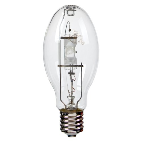 L-830 12 Pack 175 Watt ED28 Mogul Base 4000K 12,000 Hour Universal Burn Clear Metal Halide Light Bulb by Litetronics