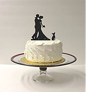Bouquet Silhouette Wedding Cake Topper AND Pet DOG Bride Groom And Dog For