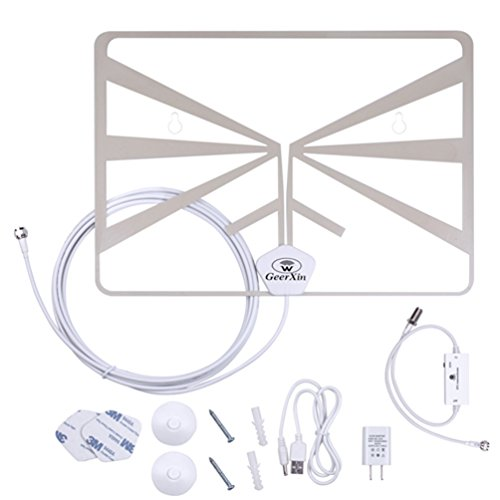 Indoor HDTV Antenna by GEERXIN, Flat Digital TV Antenna With Detachable Amplifier Signal Booster For Digital TV/HD TV USB Power Supply