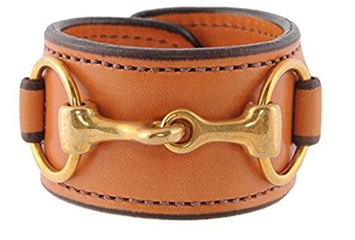 Rebecca Ray Designs Equestrian Brass Horse Snaffle Bit Natural/Tan Leather Cuff Bracelet - Tan Bridle Leather