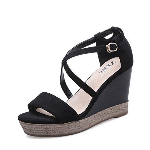 Femmes Plate Cours Shoes Hauts Sandales Sandales Au Talons De De Bande L'été Femelles De Casual A Version Compensées à Coréenne wUXanq6