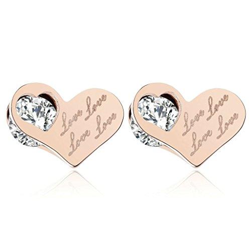 AmDxD Jewelry Stainless Steel Stud Earrings for Women Heart Cubic Zirconia Rose Gold (Celtic Skull Zippo Lighter)