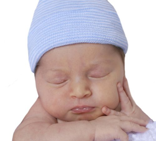 423963a5768 Image Unavailable. Image not available for. Color  Melondipity s Blue and  White Striped Newborn Boy Authentic Hospital Grade Hat. Melondipity Baby  Hats