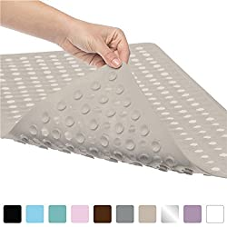 Gorilla Grip Original Bath, Shower, and Tub Mat (35x16), Antibacterial, BPA, Latex, Phthalate Free, XL Size, Machine Washable, Mats Materials (Beige)