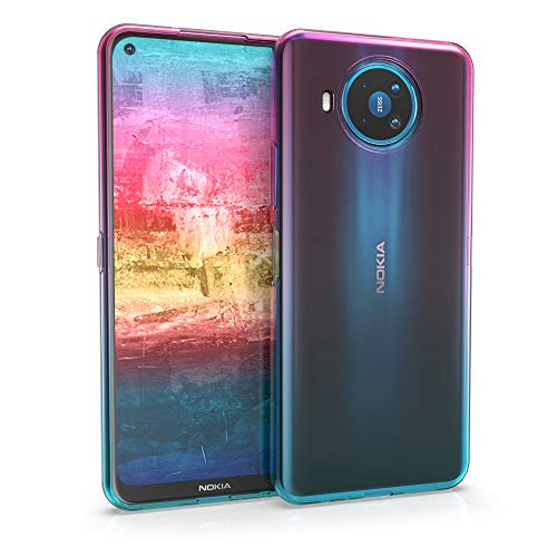 kwmobile Case Compatible with Nokia 8.3 - Clear TPU Soft Smartphone Cover - Bicolor Dark Pink/Blue/Transparent