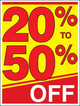 20 Percent to 50 Percent Off (%) Sale Window Sale Sign Posters Retail Business Store Signs (P40 - 25