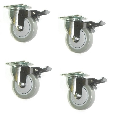 OKSLO (clearance) four swivel plate casters with 4 gray poly wheel & brakes 1000# cap ()