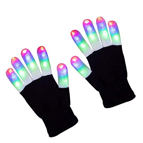 ZPTONE LED Gloves Finger Lights 3 Colors 6 Modes Flashing Rave Gloves Halloween Costume Party Favors Light Up Toys Novelty]()