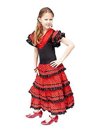 1 Filles Enfants Longeur Costume Rougetaille Cm 86 60 2 280 Robe AnsMulticolore Espagnol Senorita Flamenco Noir La Pour ChsQdtr