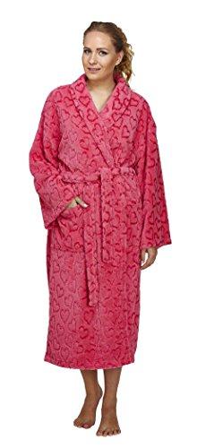 Arus Women's Heart Design Shawl Fleece Bathrobe Turkish Soft Plush (Sm Heart)