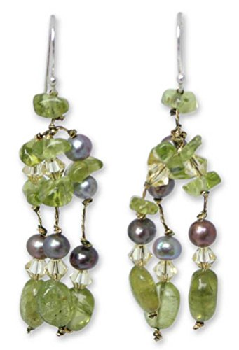 NOVICA Peridot Dyed Gray Cultured Freshwater Pearl .925 Sterling Silver Beaded Earrings 'Kiwi Ice'