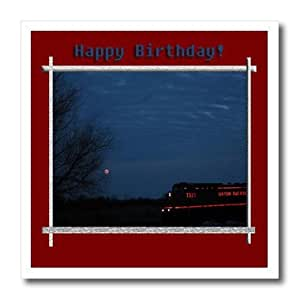 ht_18884_1 Beverly Turner Birthday Photography - Train and Moon in the Night Happy Birthday - Iron on Heat Transfers - 8x8 Iron on Heat Transfer for White Material