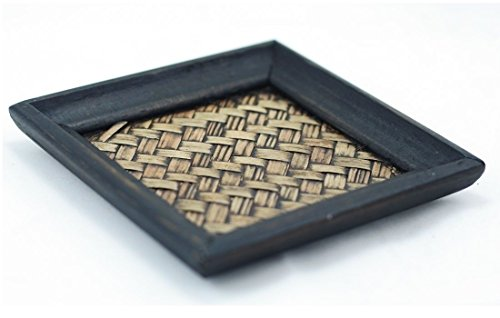 Natural Bamboo Woven Mango Wood Coasters Vintage Tropical Thai Style (Pack of 2)