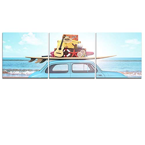 Welmeco Summer Vacation Sea Beach Picture Canvas Prints Art Sky Blue Car with Surfboard Guitar Amusement Poster for Pub Bar Guest Bedroom Living Room Decoration Ready to Hang (02 Summer, L-36 x H-12)