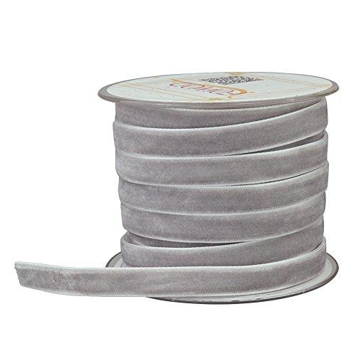Fowod Single Faced Velvet Ribbon, 22 Yard / 66 Feet (10mm, Grey)