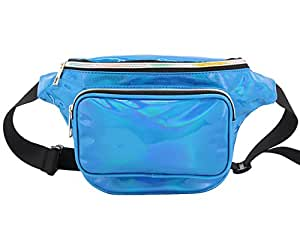 Candice Women Shiny Holographic Fanny Pack Bum Bag Waist Bag Waist Pack Purse Gift(Blue)