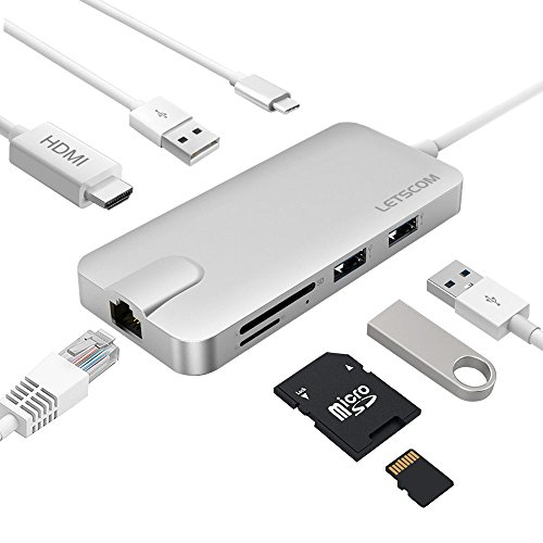 USBC Hub, Letscom USB C Hub with Ethernet Adapter, 4K HDMI Output, Type C Power Delivery, Micro SD Card Reader, 3 USB Ports, Multiport USB C Adapter for MacBook Pro, XPS, Silver