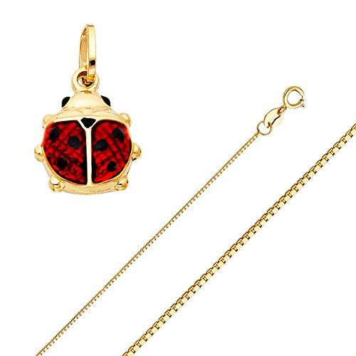 Diamond Ladybug Pendant (Top Gold & Diamond Jewelry Solid 14K Gold Box Chain Lady Bug Enamel Pendant Necklace - Choose Length 16