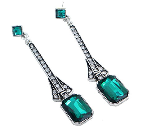 Art Deco Antique Vintage Flapper Style Green Emerald Rhinestone Extra Long Dangle Earrings