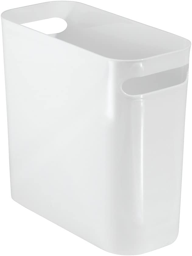 iDesign Plastic Bin with Handles, Small Office Bin Made of Durable Plastic, Practical Storage Box for Bathroom, Kitchen or Pantry, White