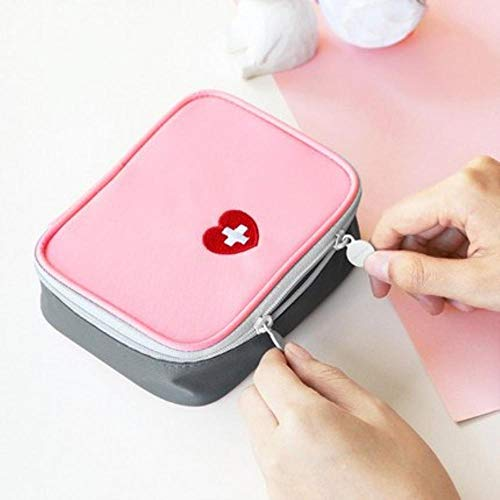Storage Bags - New Portable Waterproof Oxford Cloth Travel Drugs Storage Bag 2 Colour Mini Carry Small Object First Aid Kit Organizer (Pink)